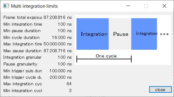 マルチインテグレーションモードの制限値画面
